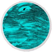 Gentle Giant In Negative Turquois Round Beach Towel