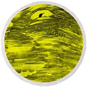 Gentle Giant In Negative Yellow Round Beach Towel