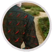 Gentleman In 16th Century Clothing On Garden Path Round Beach Towel