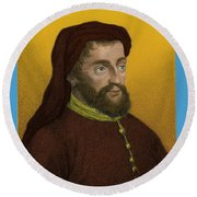 Geoffrey Chaucer, Father Of English Round Beach Towel