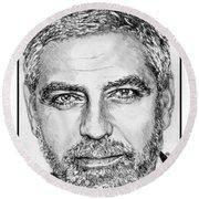George Clooney In 2009 Round Beach Towel