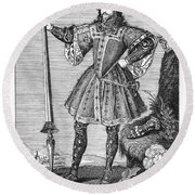 George Cumberland (1558-1605). George De Clifford Cumberland. 3rd Earl Of Cumberland. English Naval Commander And Courtier. Line Engraving, English, Early 19th Century Round Beach Towel