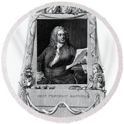 George Frideric Handel, German Baroque Round Beach Towel by Omikron