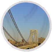 George Washington Bridge And Boat Round Beach Towel