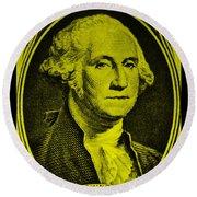 George Washington In Yellow Round Beach Towel