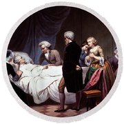 George Washington On His Death Bed Round Beach Towel