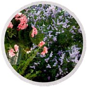 Geranium And Lilac Painting Round Beach Towel