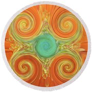 Gerbera Abstract Round Beach Towel