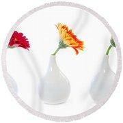 Gerbera Flowers In Vases Round Beach Towel