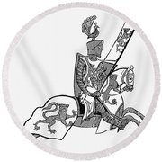 German Knight Round Beach Towel