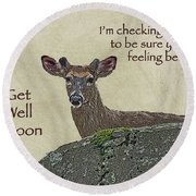 Get Well Card - Whitetail Deer In Velvet Round Beach Towel