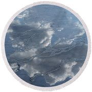 Geyser Basin Cloud Reflection Round Beach Towel