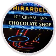 Ghirardelli Chocolate Signs At Night Round Beach Towel