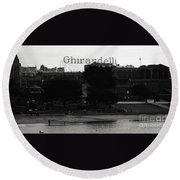 Ghirardelli Square In Black And White Round Beach Towel by Linda Woods