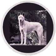 Ghost The Wolf Round Beach Towel