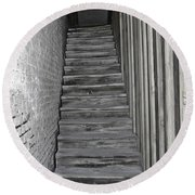 Ghost Town Stairs Bodie California Round Beach Towel