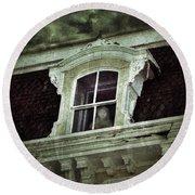 Ghostly Girl In Upstairs Window Round Beach Towel by Jill Battaglia