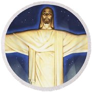 Giant Figure Of Christ Round Beach Towel