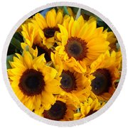 Giant Sunflowers For Sale In The Swiss City Of Lucerne Round Beach Towel