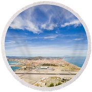 Gibraltar Airport Runway And La Linea Town Round Beach Towel