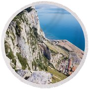 Gibraltar Rock And Mediterranean Sea Round Beach Towel