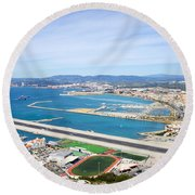 Gibraltar Runway And La Linea Cityscape Round Beach Towel
