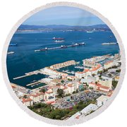 Gibraltar Town And Bay Round Beach Towel