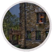 Gillette Castle Exterior Hdr Round Beach Towel