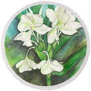 Ginger Lilies Round Beach Towel