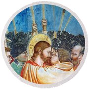 Giotto: Betrayal Of Christ Round Beach Towel
