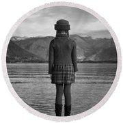 Girl At A Lake Round Beach Towel