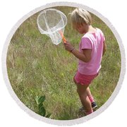 Girl Collecting Insects In A Meadow Round Beach Towel