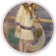 Girl In A Sailor Suit Round Beach Towel