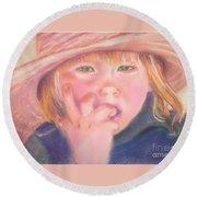 Girl In Straw Hat Round Beach Towel by Julie Brugh Riffey