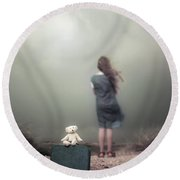 Girl In The Dunes Round Beach Towel by Joana Kruse