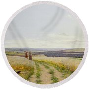 Girl In The Fields   Round Beach Towel