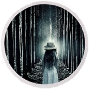 Girl In The Forest Round Beach Towel