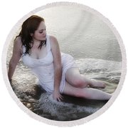 Girl In The Surf Round Beach Towel