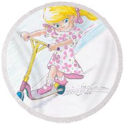 Girl On A Microscooter Cartoon Round Beach Towel