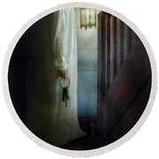 Girl On Stairs With Lantern And Keys Round Beach Towel by Jill Battaglia