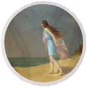 Girl On The Beach  Round Beach Towel by Frank Richards