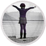 Girl On The Shores Of Lake Maggiore Round Beach Towel