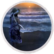 Girl Watching The Sun Go Down At The Ocean Round Beach Towel