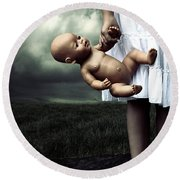 Girl With A Baby Doll Round Beach Towel