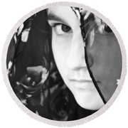 Girl With A Rose Veil 3 Bw Round Beach Towel