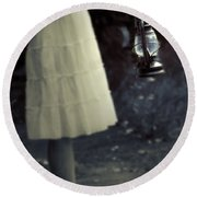 Girl With An Oil Lamp Round Beach Towel