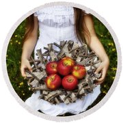 Girl With Apples Round Beach Towel