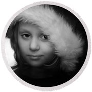 Girl With  Hat Round Beach Towel
