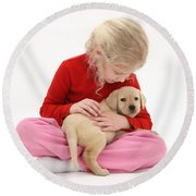 Girl With Puppy Round Beach Towel