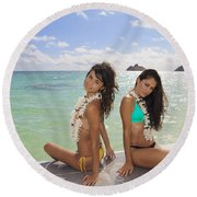 Girls On A Paddle Board Round Beach Towel